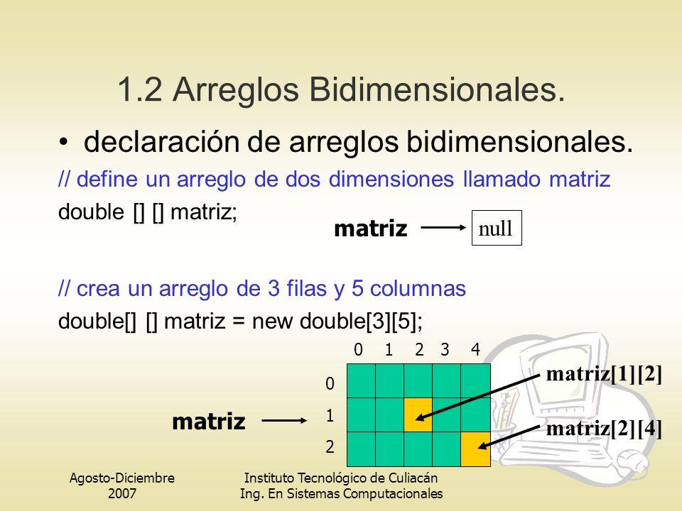 1.2 Arreglos Bidimensionales.