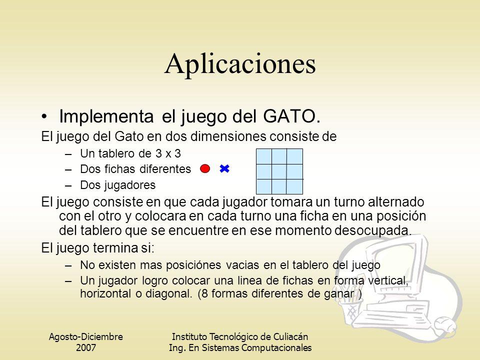 Aplicaciones Implementa el juego del GATO.