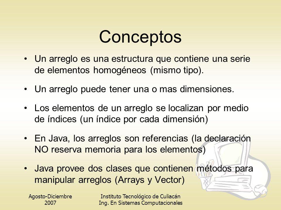 Conceptos Un arreglo es una estructura que contiene una serie de elementos homogéneos (mismo tipo).
