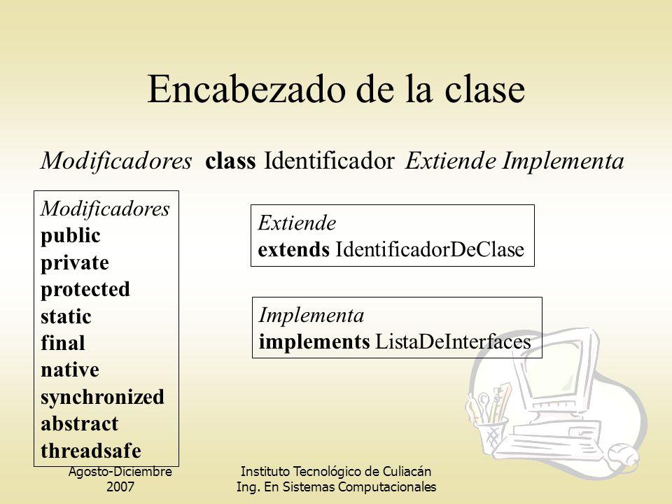 Encabezado de la clase Modificadores class Identificador Extiende Implementa. Modificadores. public.