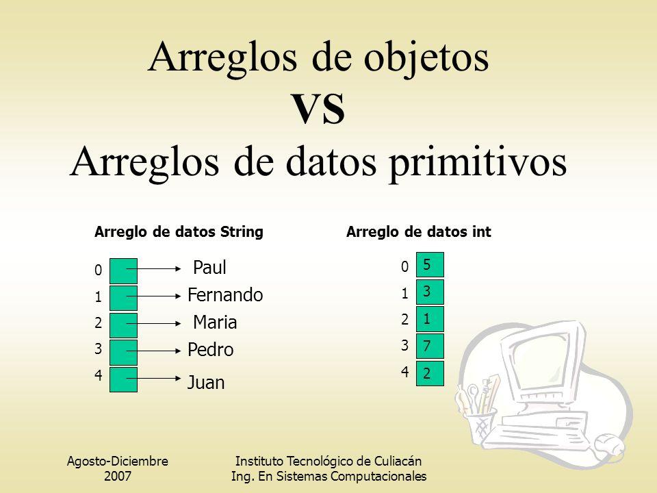 Arreglos de objetos VS Arreglos de datos primitivos