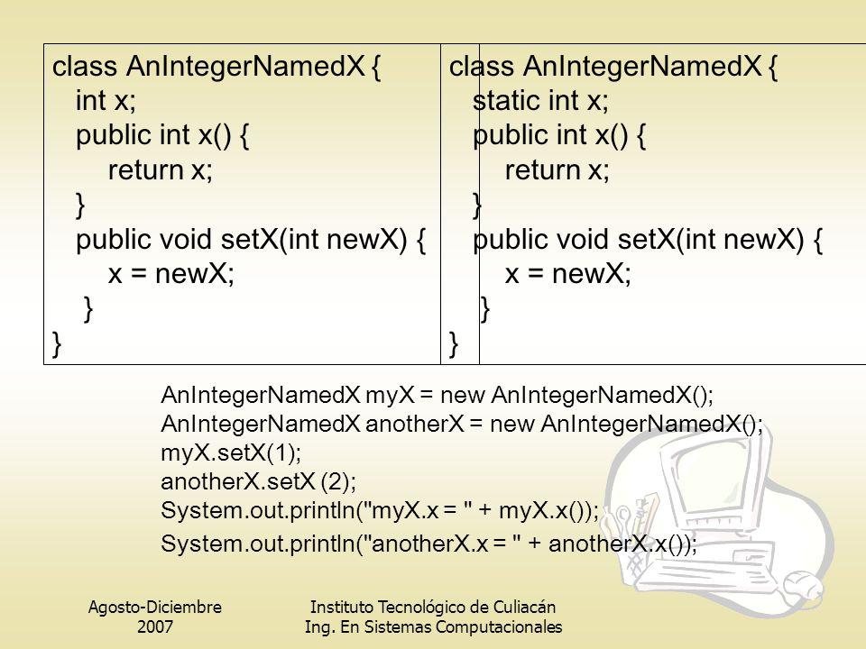 class AnIntegerNamedX { int x; public int x() { return x; }