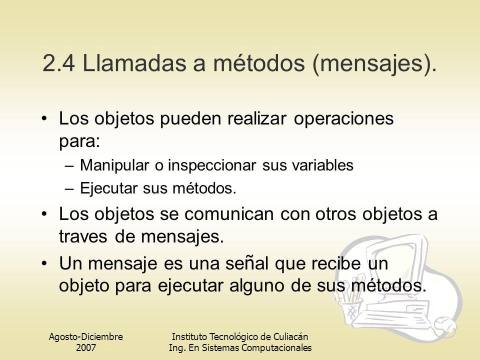 2.4 Llamadas a métodos (mensajes).