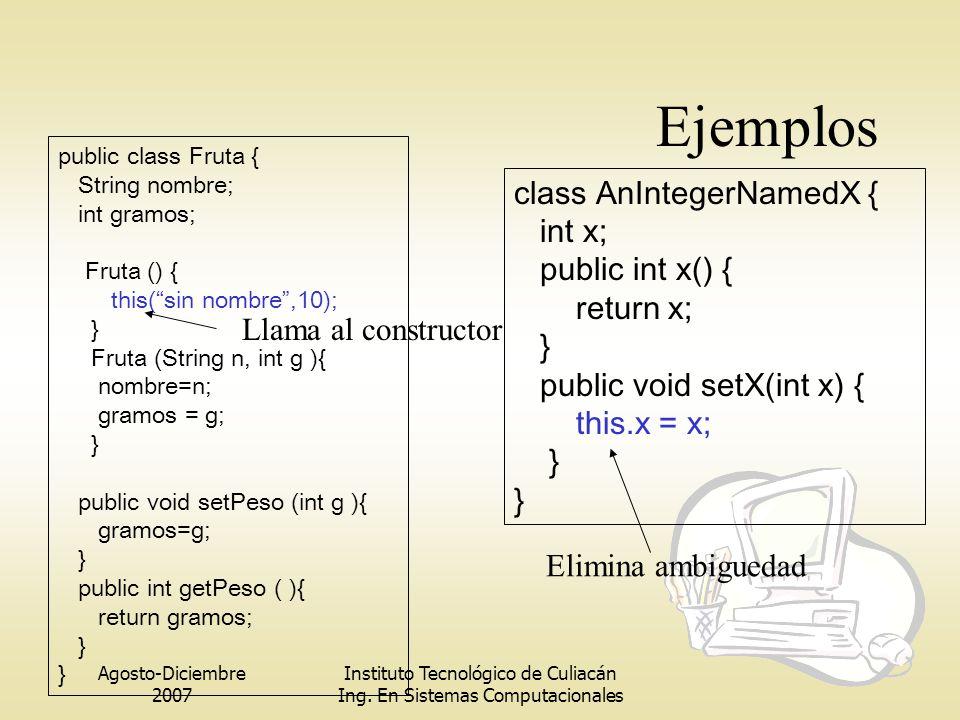 Ejemplos class AnIntegerNamedX { int x; public int x() { return x; }
