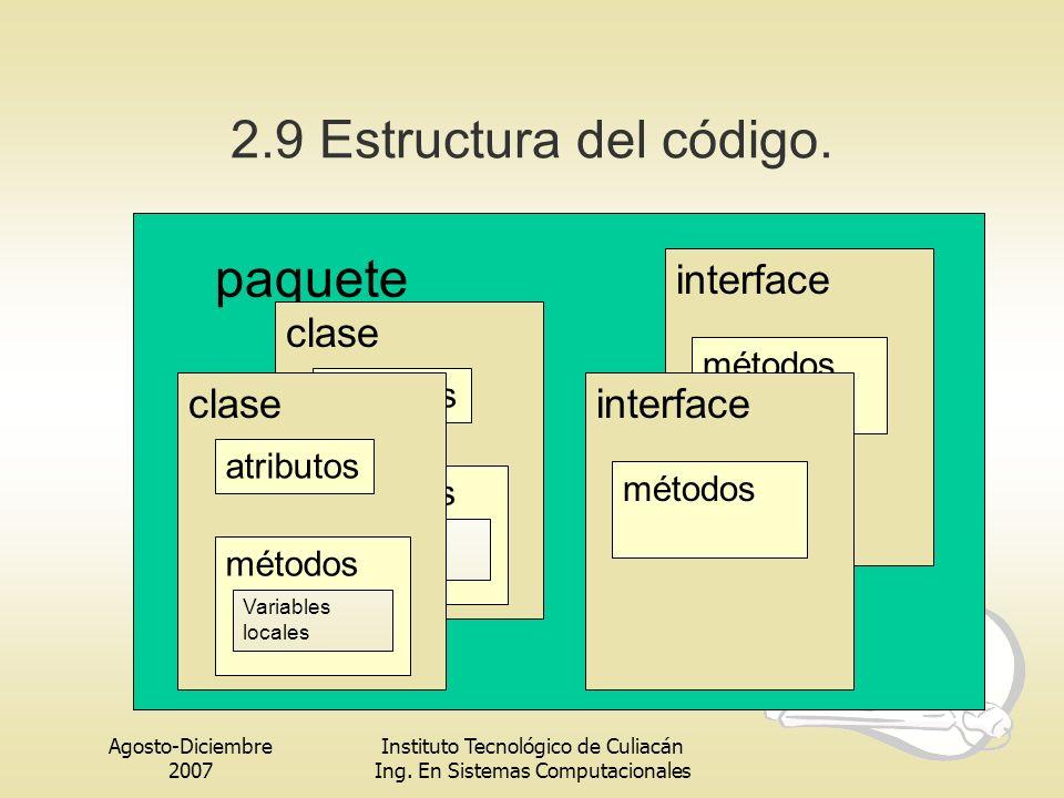 2.9 Estructura del código. paquete interface clase atributos métodos