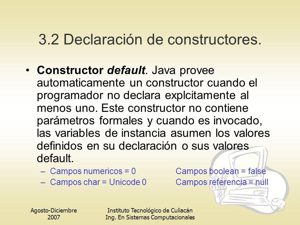 3.2 Declaración de constructores.