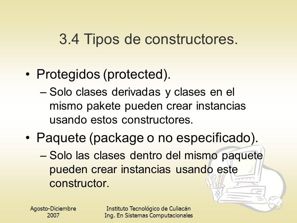 3.4 Tipos de constructores.