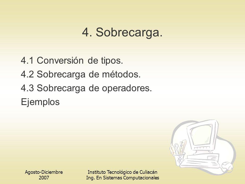 4. Sobrecarga. 4.1 Conversión de tipos. 4.2 Sobrecarga de métodos.