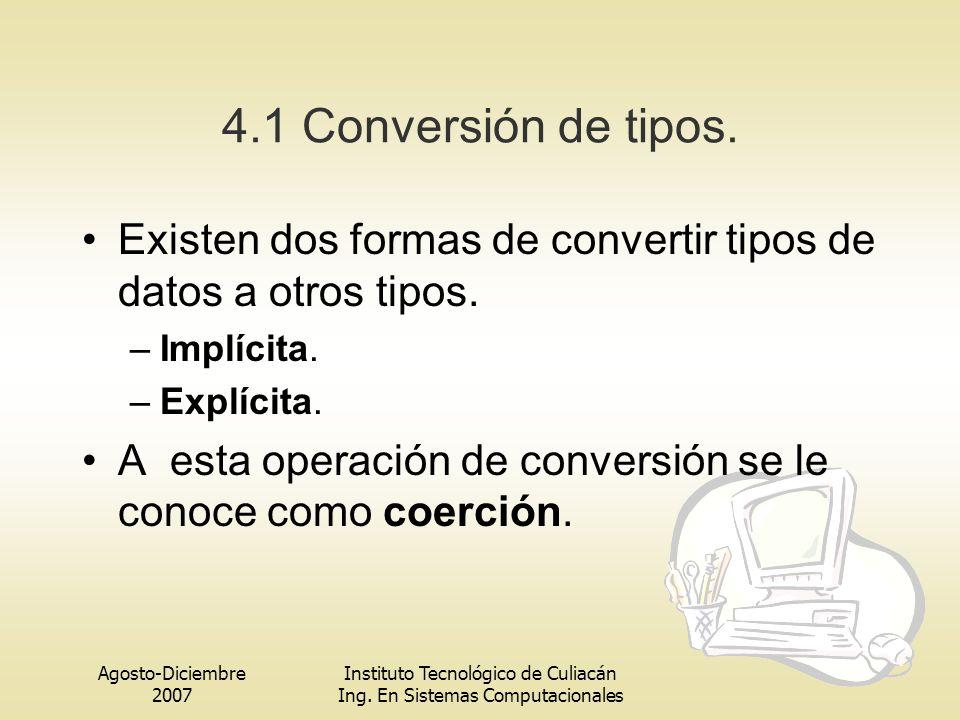 4.1 Conversión de tipos. Existen dos formas de convertir tipos de datos a otros tipos. Implícita. Explícita.