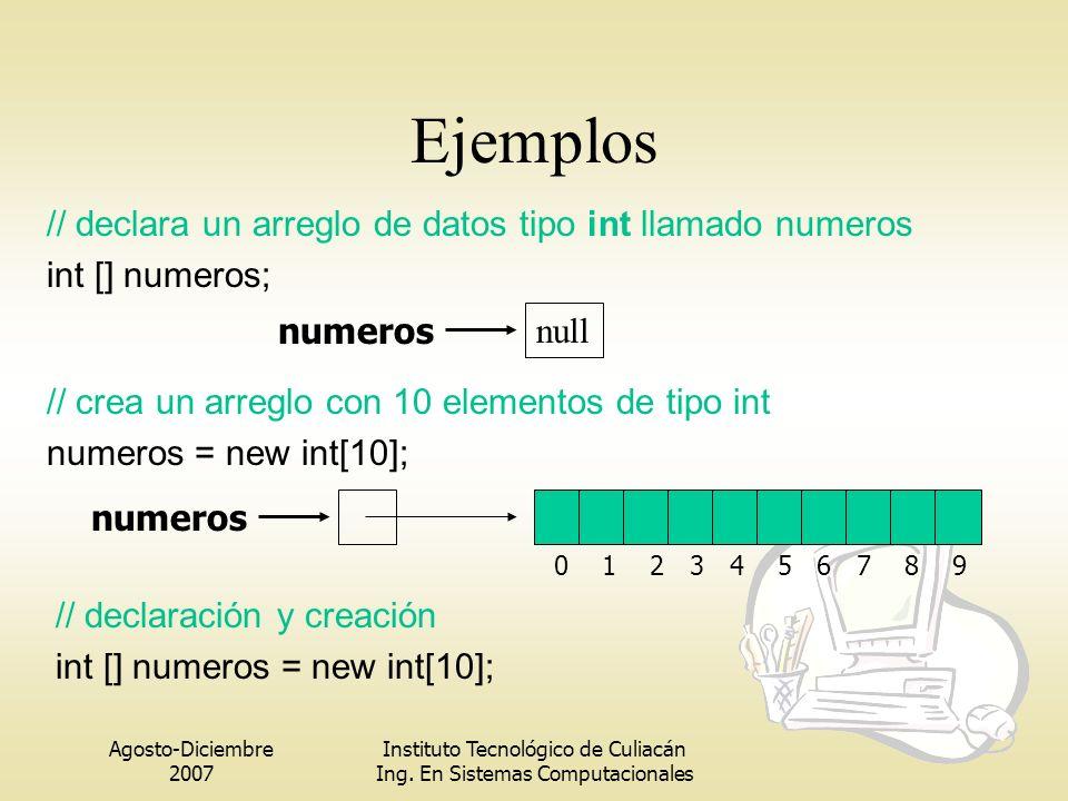 Ejemplos // declara un arreglo de datos tipo int llamado numeros