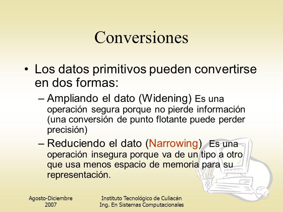 Conversiones Los datos primitivos pueden convertirse en dos formas: