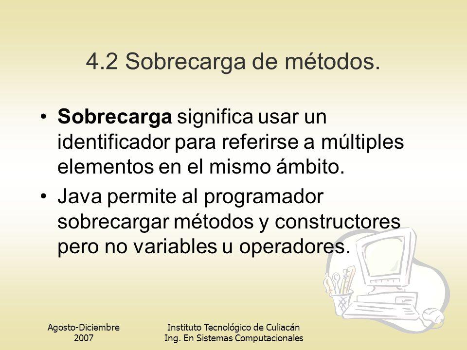 4.2 Sobrecarga de métodos. Sobrecarga significa usar un identificador para referirse a múltiples elementos en el mismo ámbito.