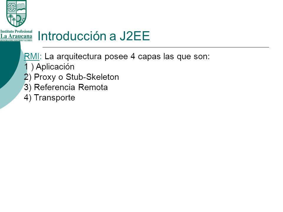 Introducción a J2EE RMI: La arquitectura posee 4 capas las que son: 1 ) Aplicación 2) Proxy o Stub-Skeleton 3) Referencia Remota 4) Transporte.