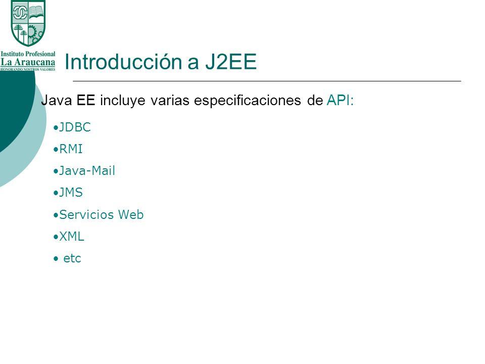 Introducción a J2EE Java EE incluye varias especificaciones de API: