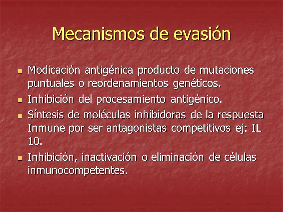 Mecanismos de evasión Modicación antigénica producto de mutaciones puntuales o reordenamientos genéticos.