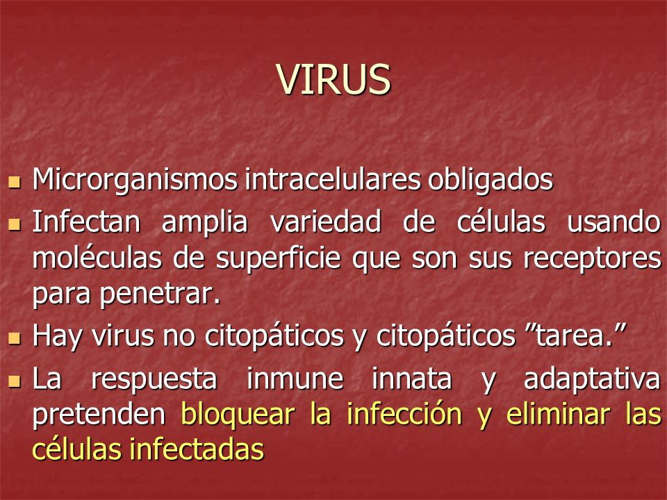 VIRUS Microrganismos intracelulares obligados