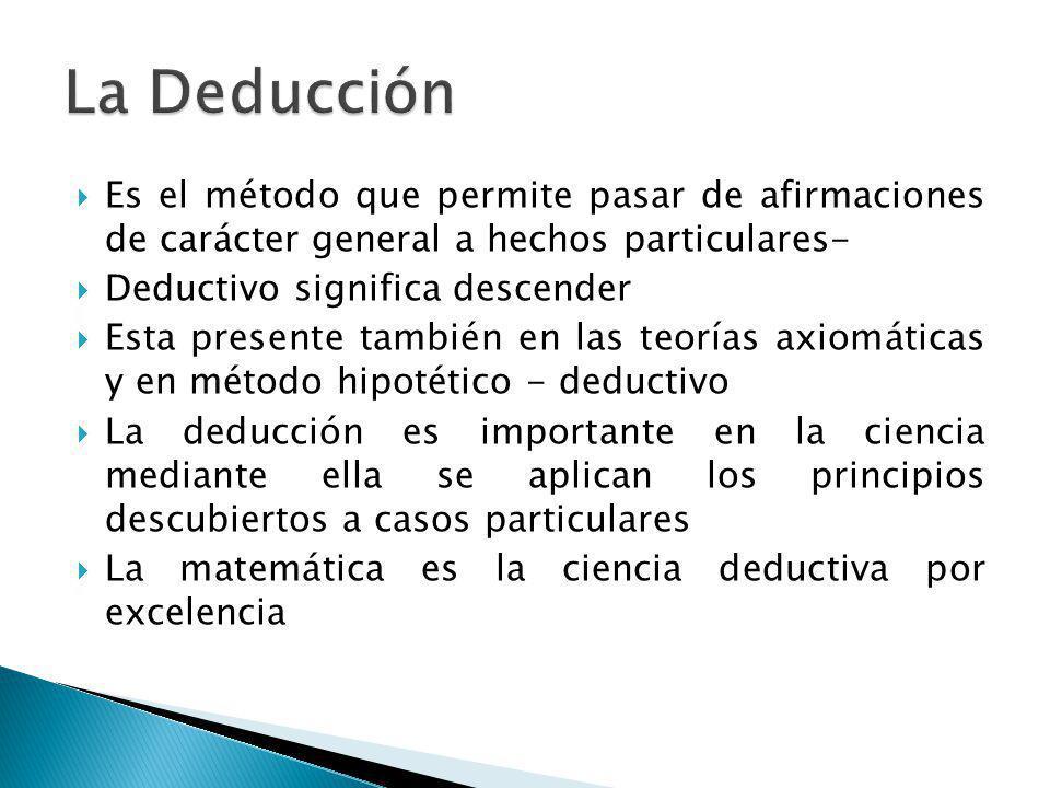 La Deducción Es el método que permite pasar de afirmaciones de carácter general a hechos particulares-