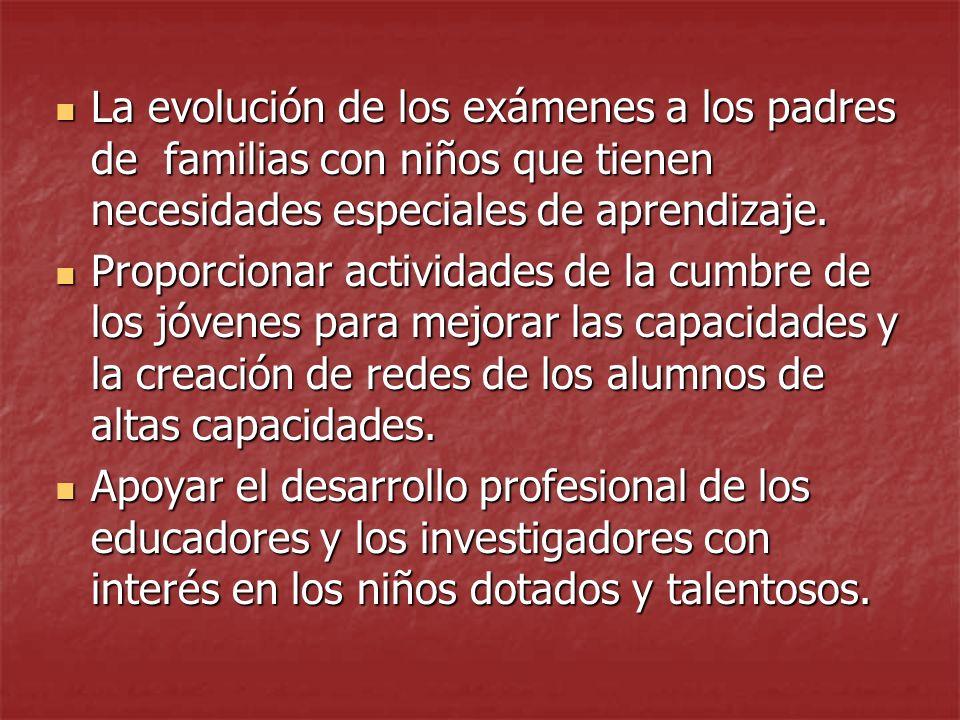 La evolución de los exámenes a los padres de familias con niños que tienen necesidades especiales de aprendizaje.