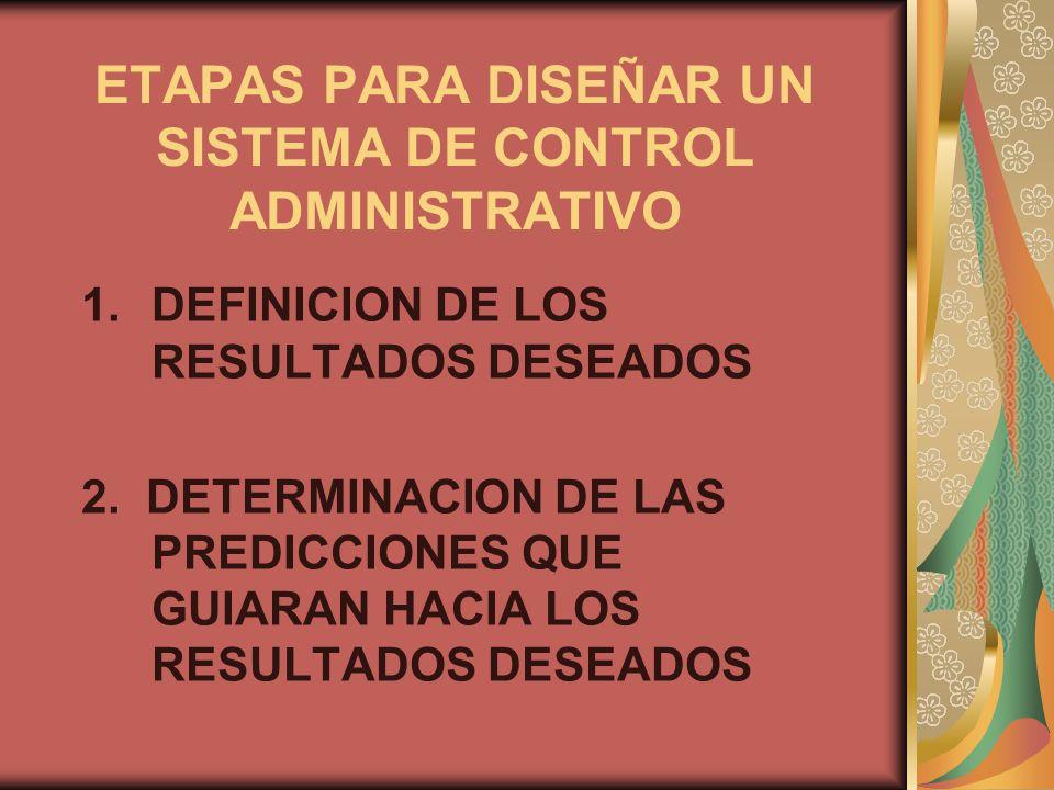 ETAPAS PARA DISEÑAR UN SISTEMA DE CONTROL ADMINISTRATIVO