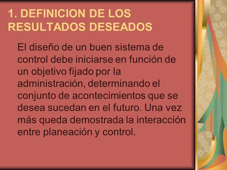 1. DEFINICION DE LOS RESULTADOS DESEADOS