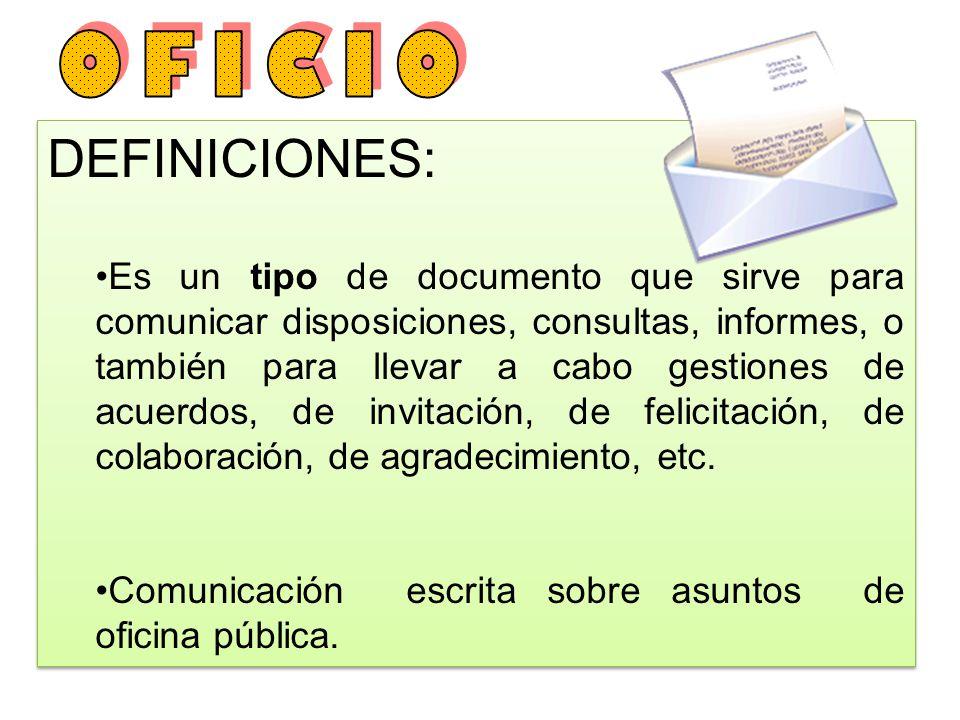 OFICIO DEFINICIONES: