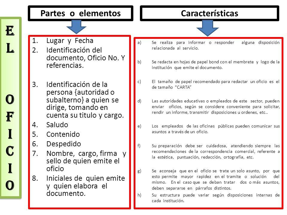 E L o F I C I O Partes o elementos Características Lugar y Fecha