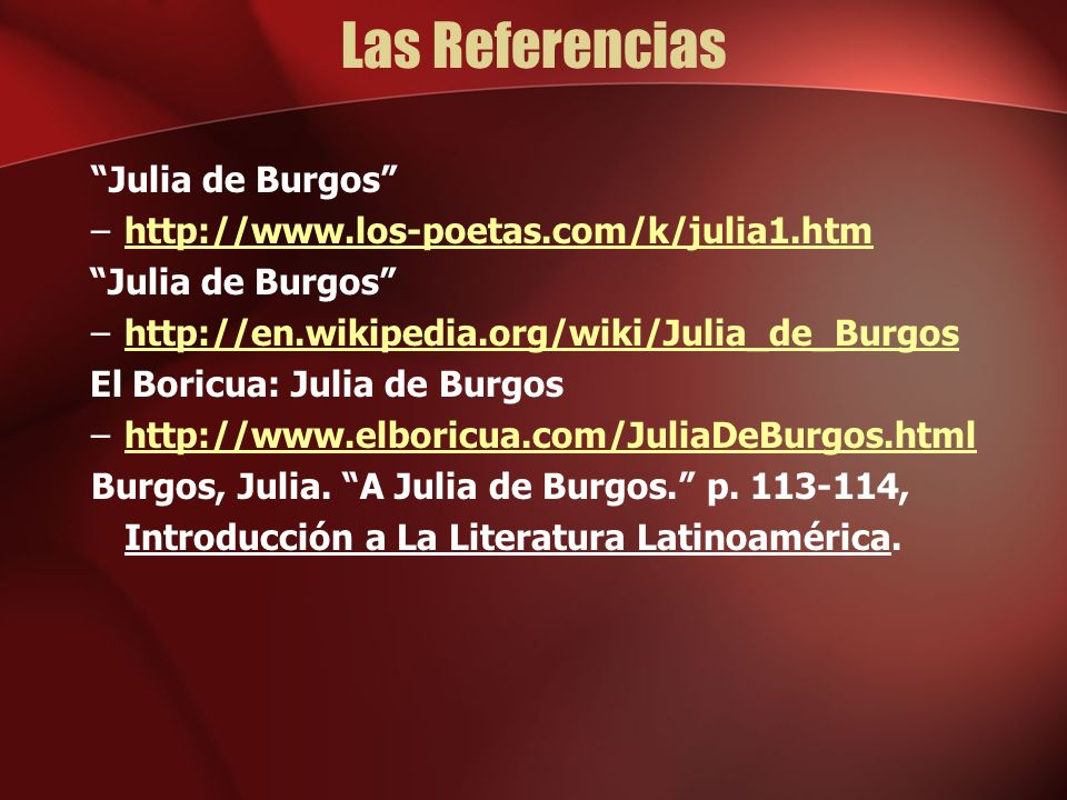 Las Referencias Julia de Burgos