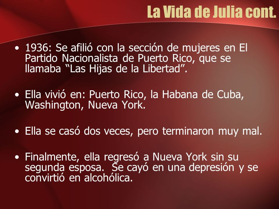 La Vida de Julia cont.