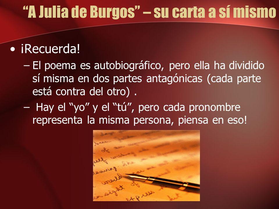 A Julia de Burgos – su carta a sí mismo