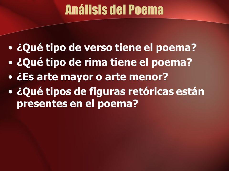 Análisis del Poema ¿Qué tipo de verso tiene el poema