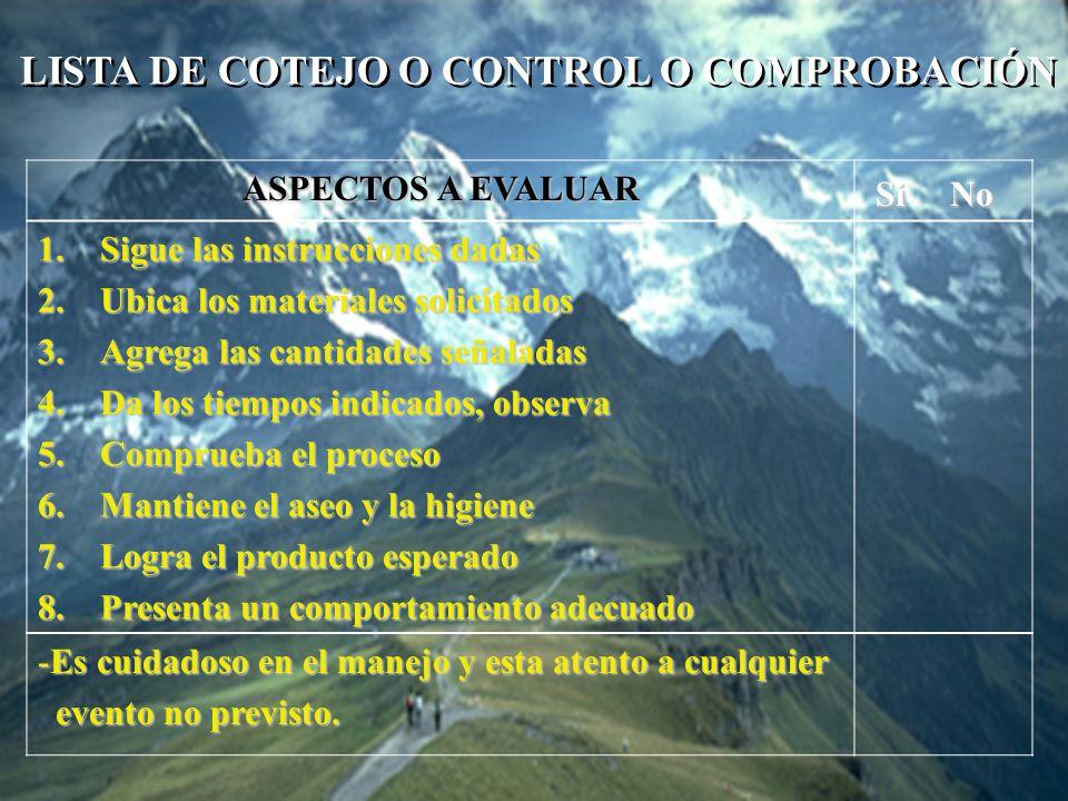 LISTA DE COTEJO O CONTROL O COMPROBACIÓN Si No