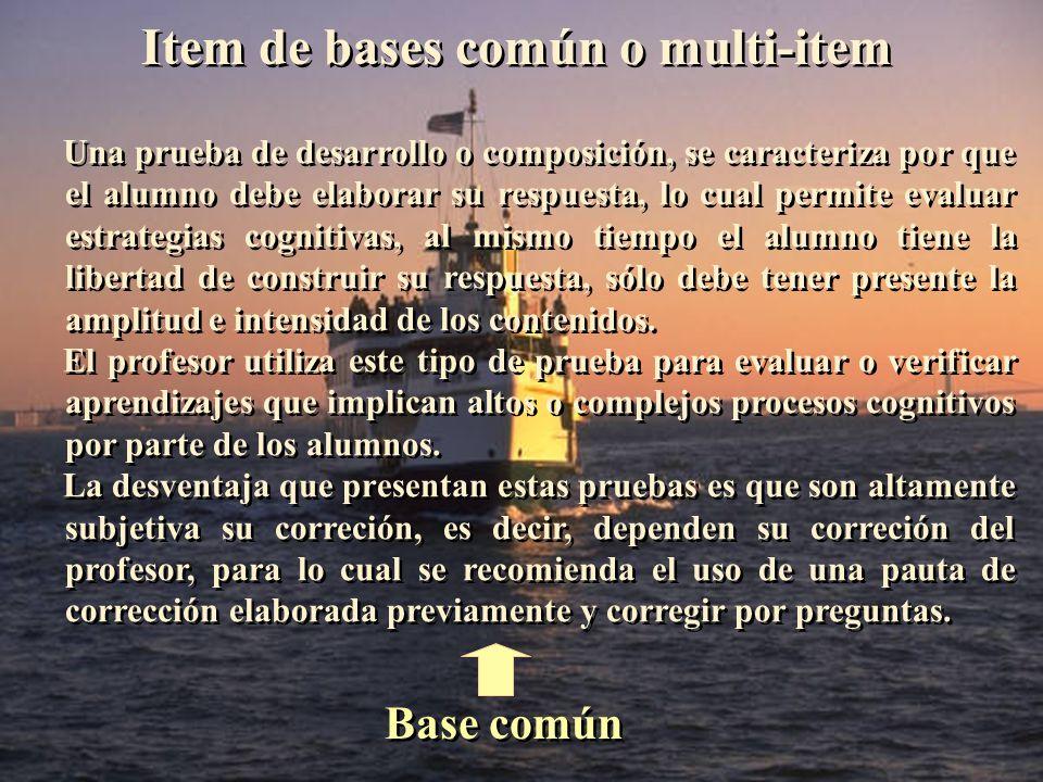 Item de bases común o multi-item