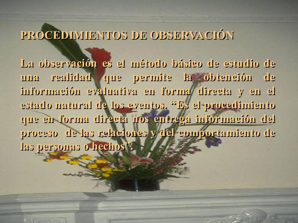 PROCEDIMIENTOS DE OBSERVACIÓN