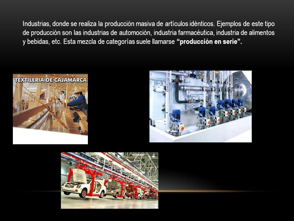Industrias, donde se realiza la producción masiva de artículos idénticos.