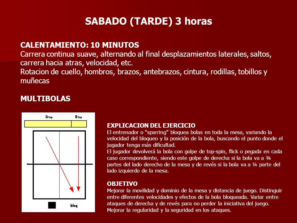SABADO (TARDE) 3 horas CALENTAMIENTO: 10 MINUTOS