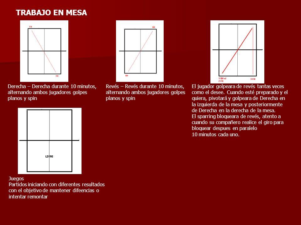 TRABAJO EN MESADerecha – Derecha durante 10 minutos, alternando ambos jugadores golpes planos y spin.