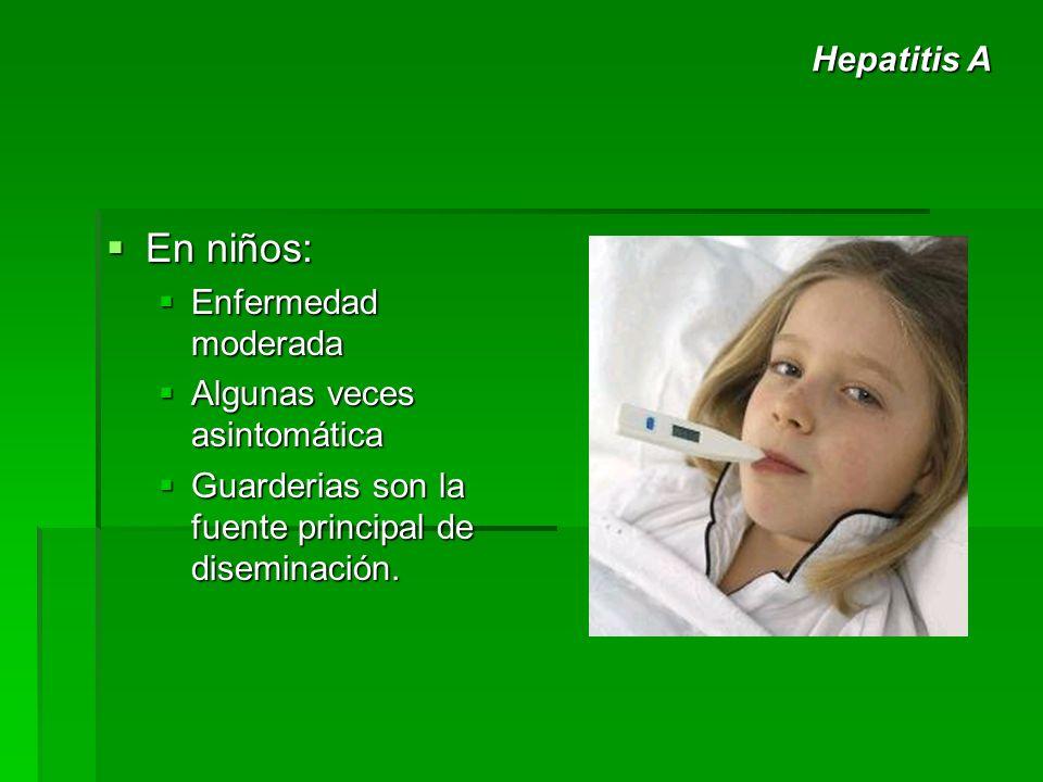 En niños: Hepatitis A Enfermedad moderada Algunas veces asintomática