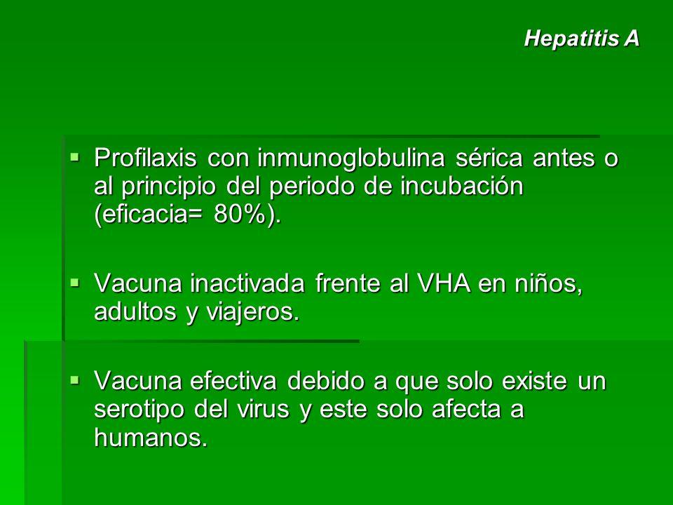 Vacuna inactivada frente al VHA en niños, adultos y viajeros.