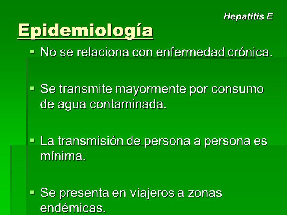 Epidemiología No se relaciona con enfermedad crónica.