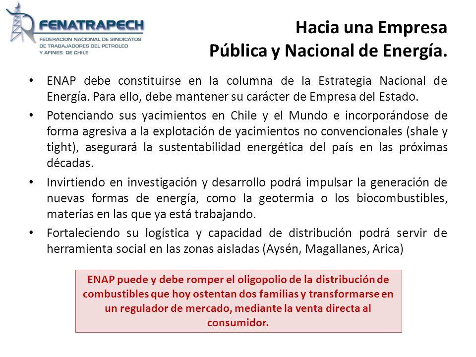 Hacia una Empresa Pública y Nacional de Energía.