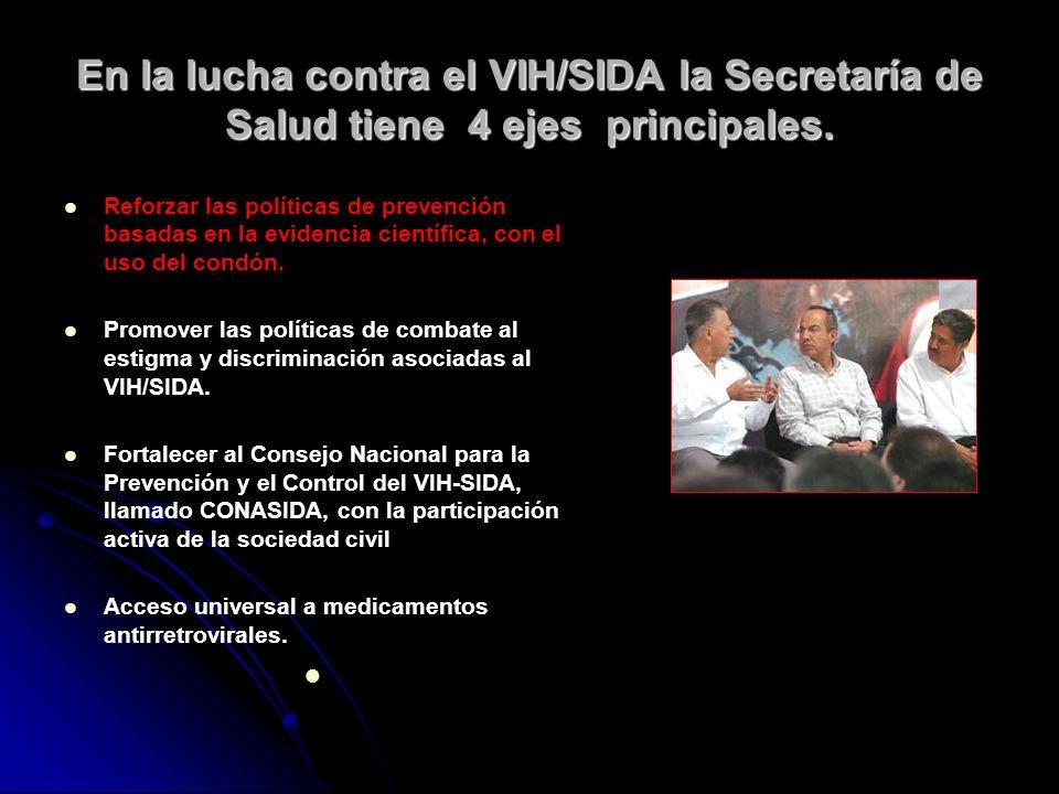 En la lucha contra el VIH/SIDA la Secretaría de Salud tiene 4 ejes principales.