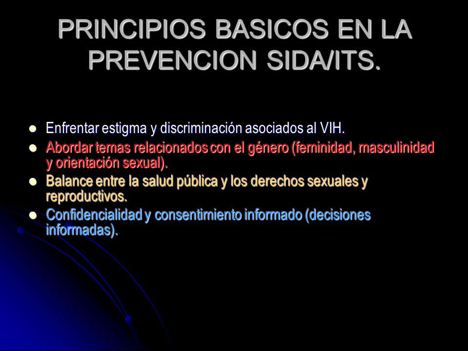 PRINCIPIOS BASICOS EN LA PREVENCION SIDA/ITS.