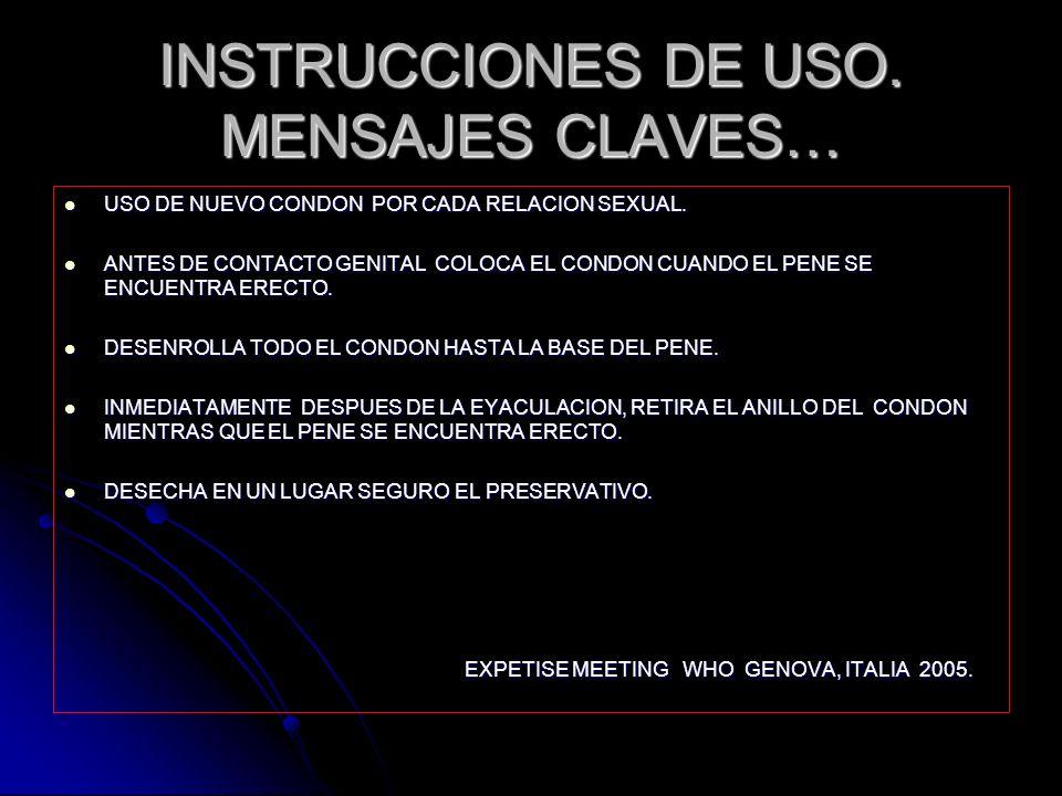 INSTRUCCIONES DE USO. MENSAJES CLAVES…