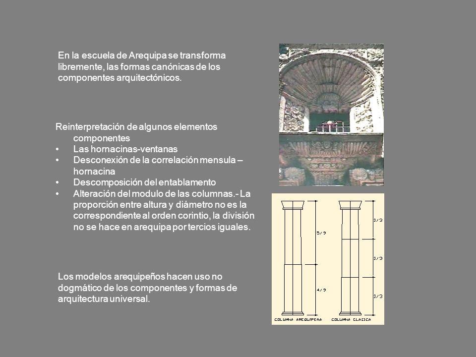 En la escuela de Arequipa se transforma libremente, las formas canónicas de los componentes arquitectónicos.