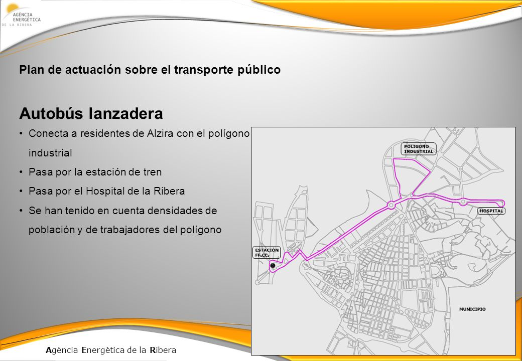 Autobús lanzadera Plan de actuación sobre el transporte público