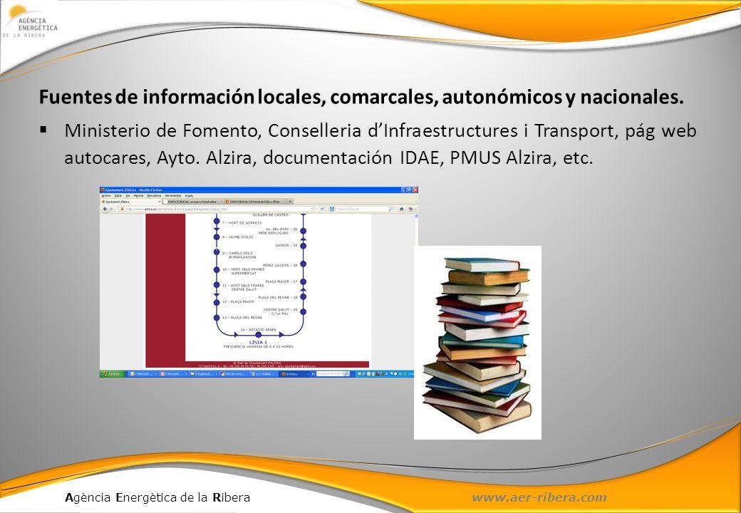 Fuentes de información locales, comarcales, autonómicos y nacionales.