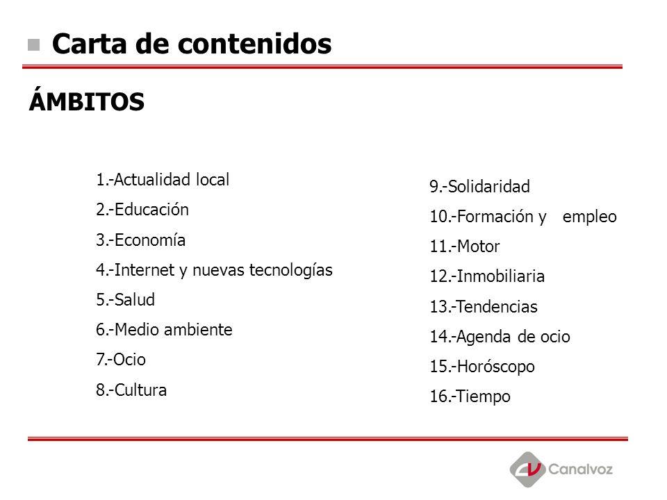 Carta de contenidos ÁMBITOS 1.-Actualidad local 2.-Educación