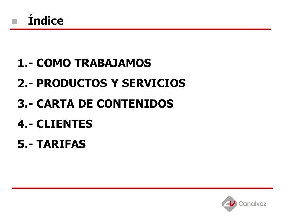 Índice 1.- COMO TRABAJAMOS. 2.- PRODUCTOS Y SERVICIOS.