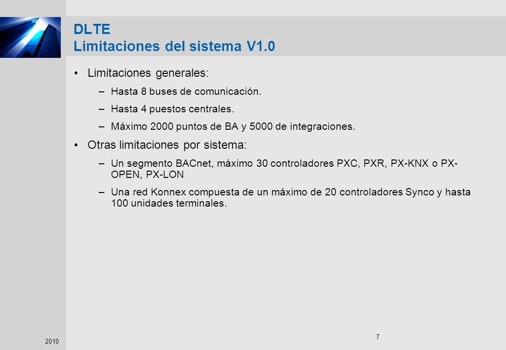 DLTE Limitaciones del sistema V1.0