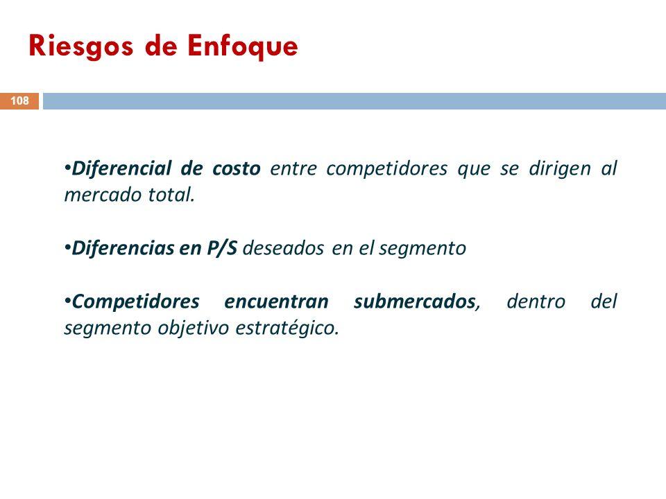 Riesgos de Enfoque Diferencial de costo entre competidores que se dirigen al mercado total. Diferencias en P/S deseados en el segmento.